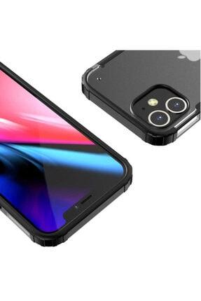 Pickcase Apple Iphone 12 Pro 6.1 Kılıf Kamera Korumalı Arkası Mat Kenarları Siyah Arka Kapak 3