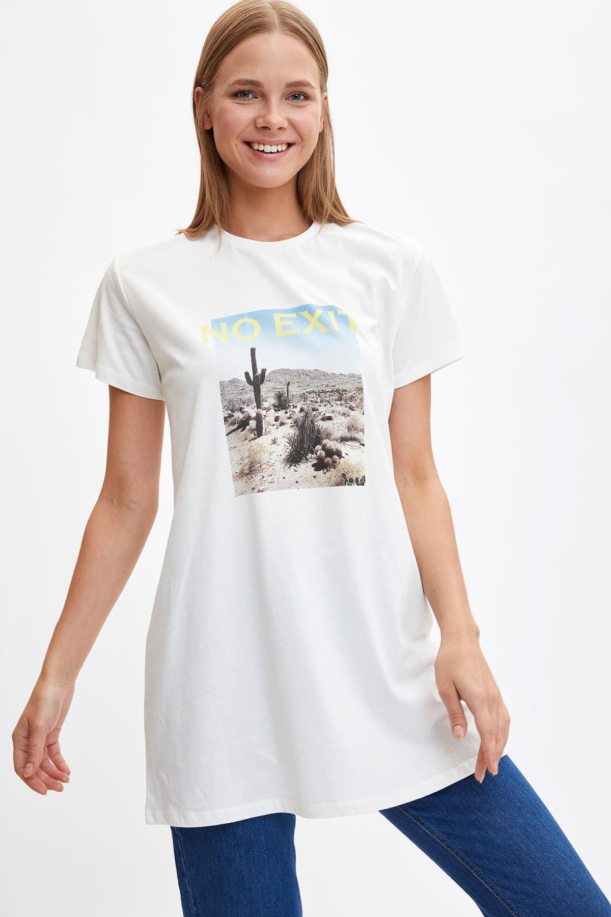 Defacto Kadın Modest Ekru Baskılı Kısa Kollu Uzun T-shirt M0127AZ.19HS.ER105 0