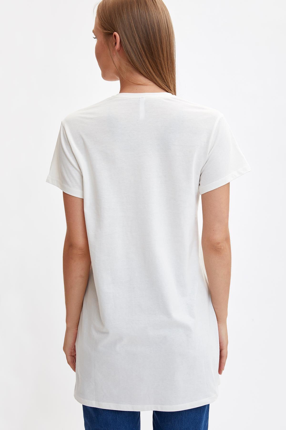 Defacto Kadın Modest Ekru Baskılı Kısa Kollu Uzun T-shirt M0127AZ.19HS.ER105 4