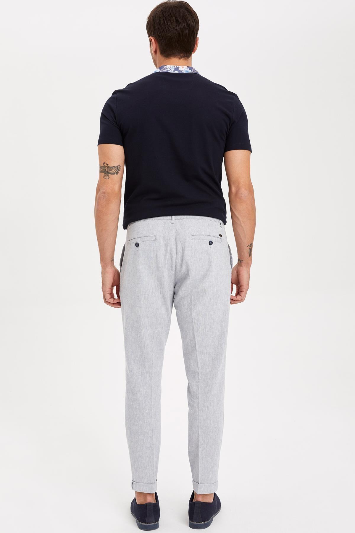 Defacto Erkek Mavi Keten Karışım Crop Fit Pantolon K3255AZ.19SM.BE393 1