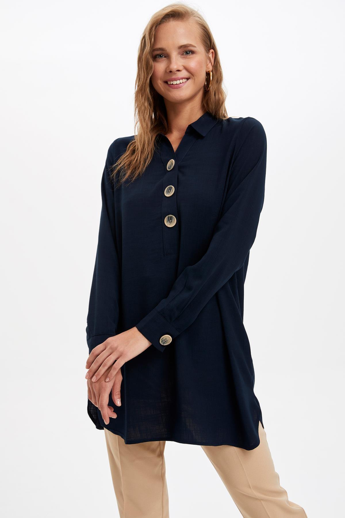 Defacto Kadın Lacivert Gömlek Yaka Düğmeli Tunik L0990AZ.19AU.NV167 2