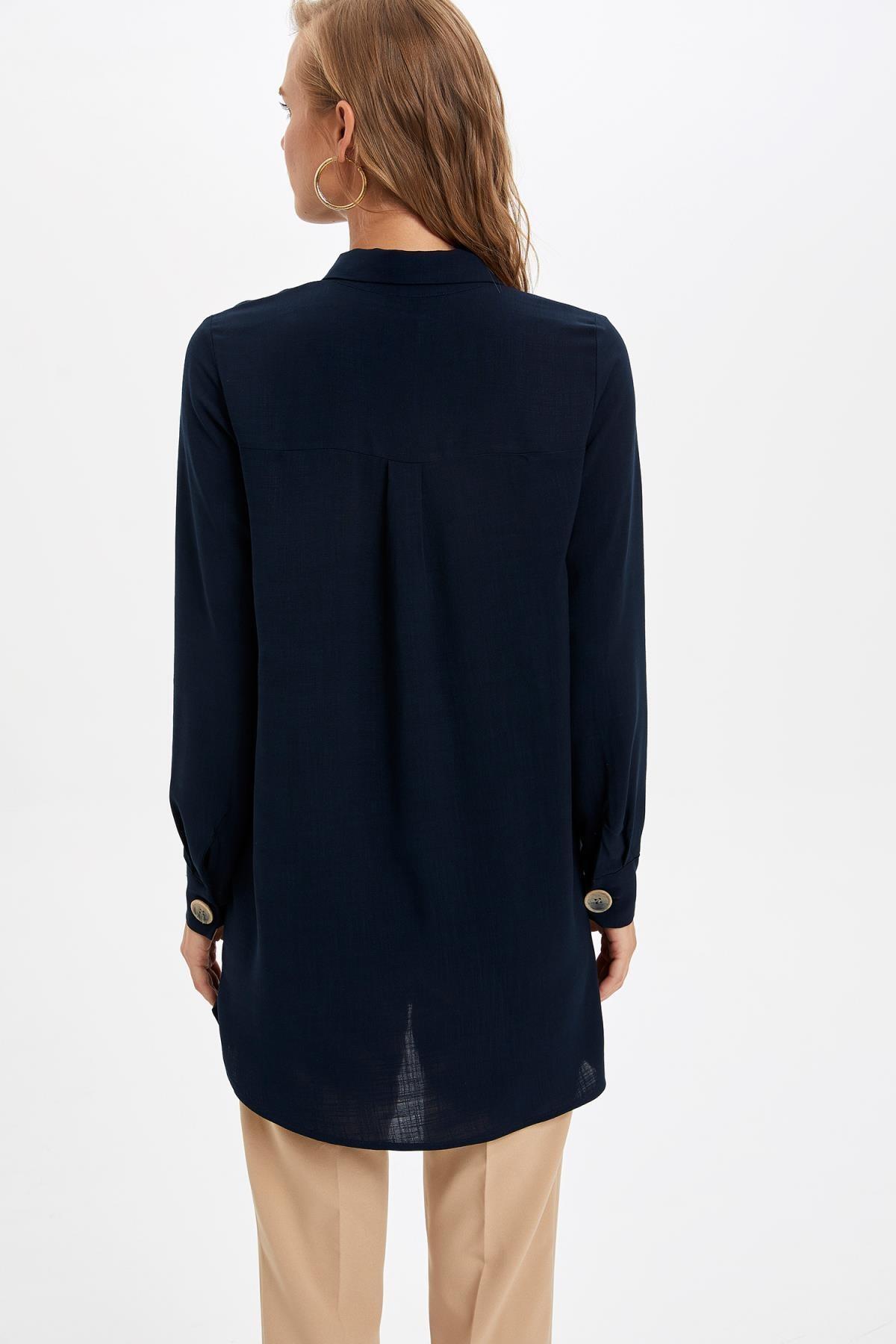 Defacto Kadın Lacivert Gömlek Yaka Düğmeli Tunik L0990AZ.19AU.NV167 4