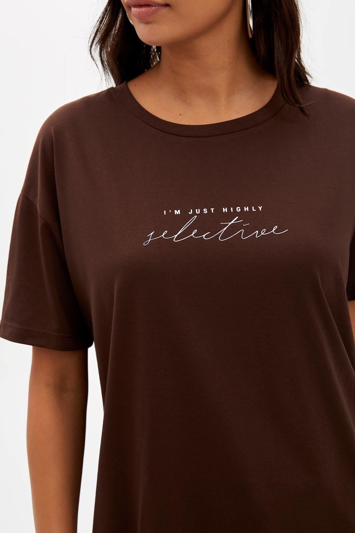 Defacto Kadın Kahverengi Baskılı Regular Fit T-Shirt M1868AZ.19AU.BN45 2