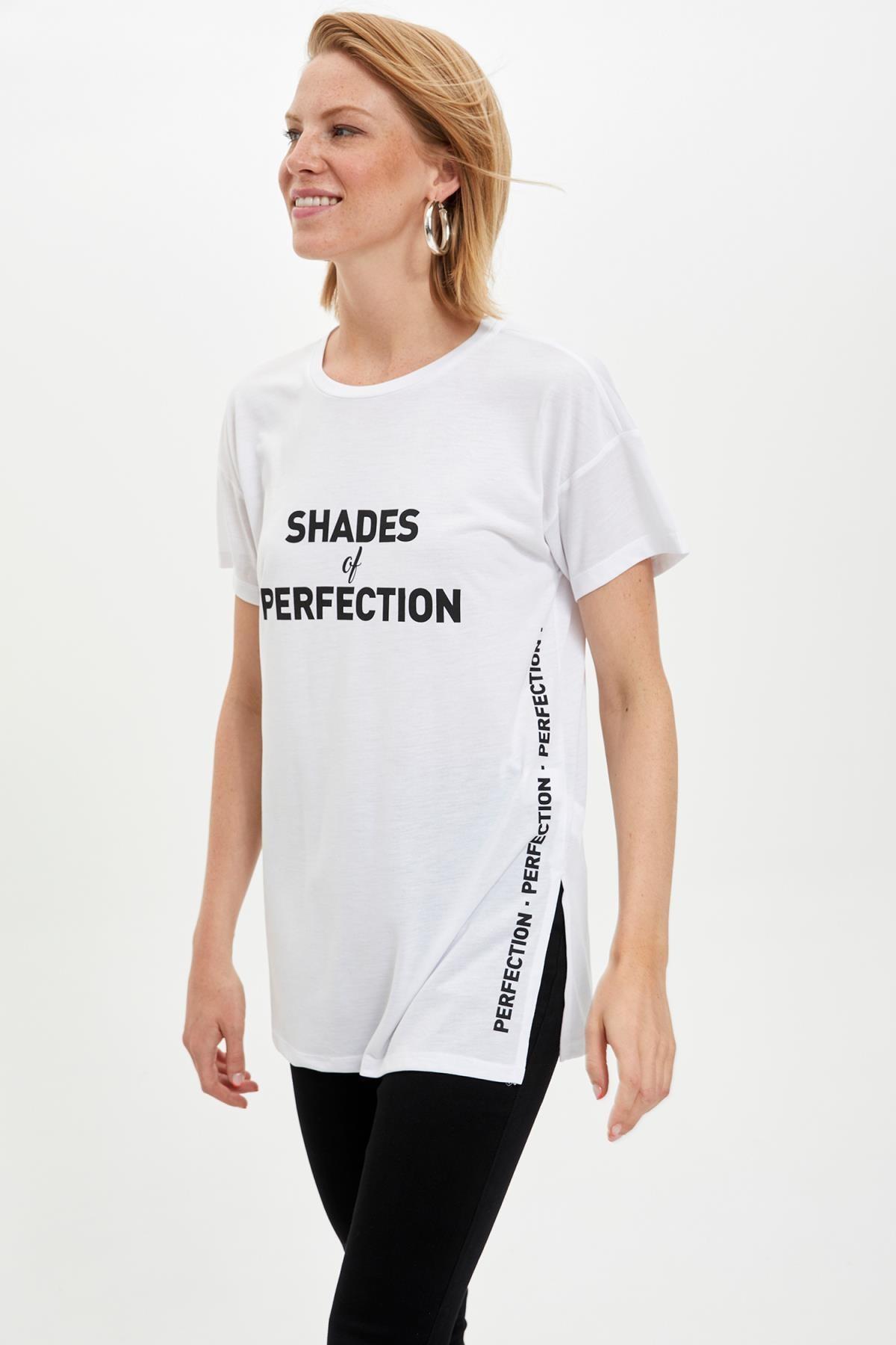 Defacto Kadın Beyaz Baskılı Kısa Kollu Tunik L9298AZ.19HS.WT34 0