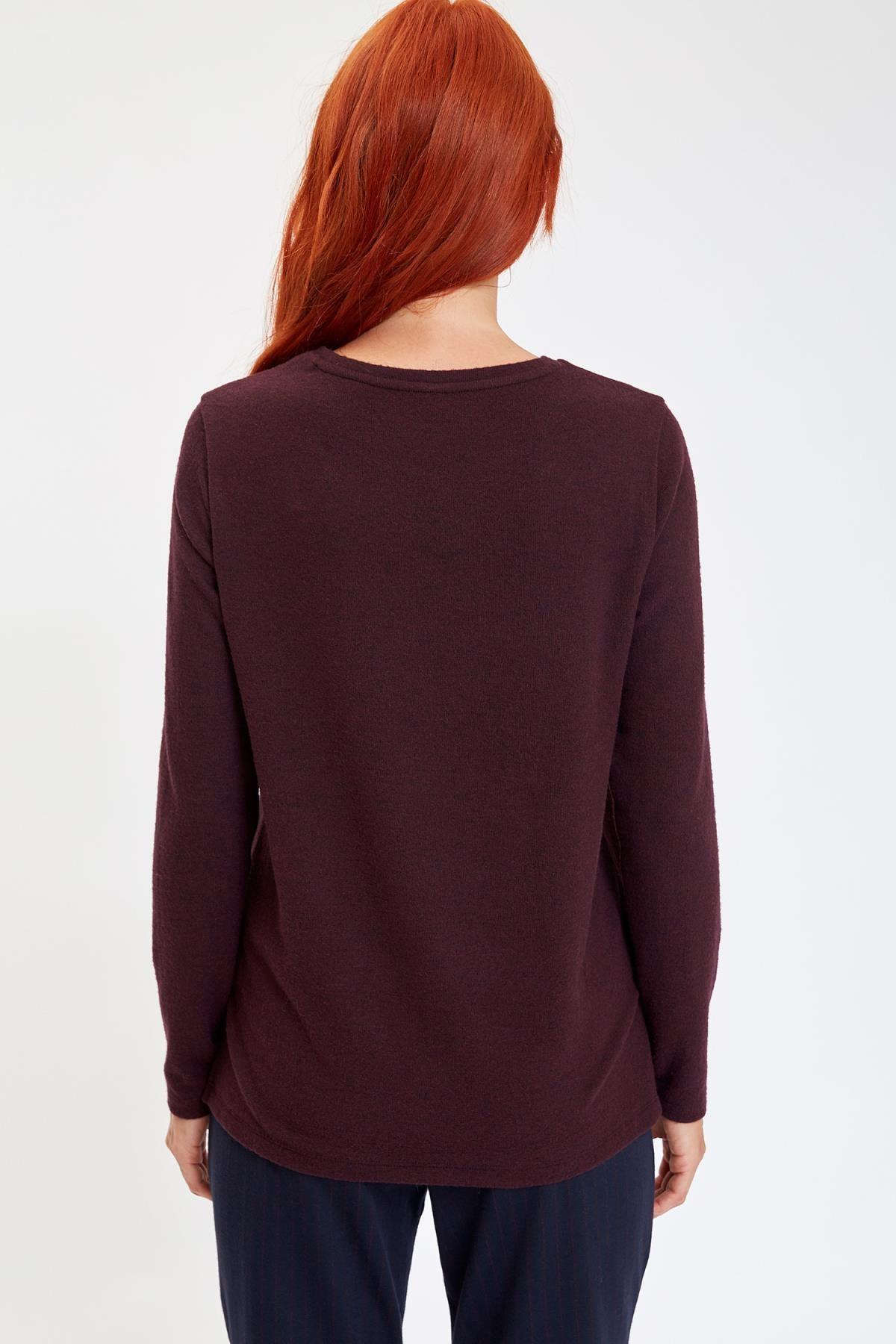 Defacto Kadın Mor Baskılı Uzun Kollu T-Shirt M1308AZ.19AU.PR166 3