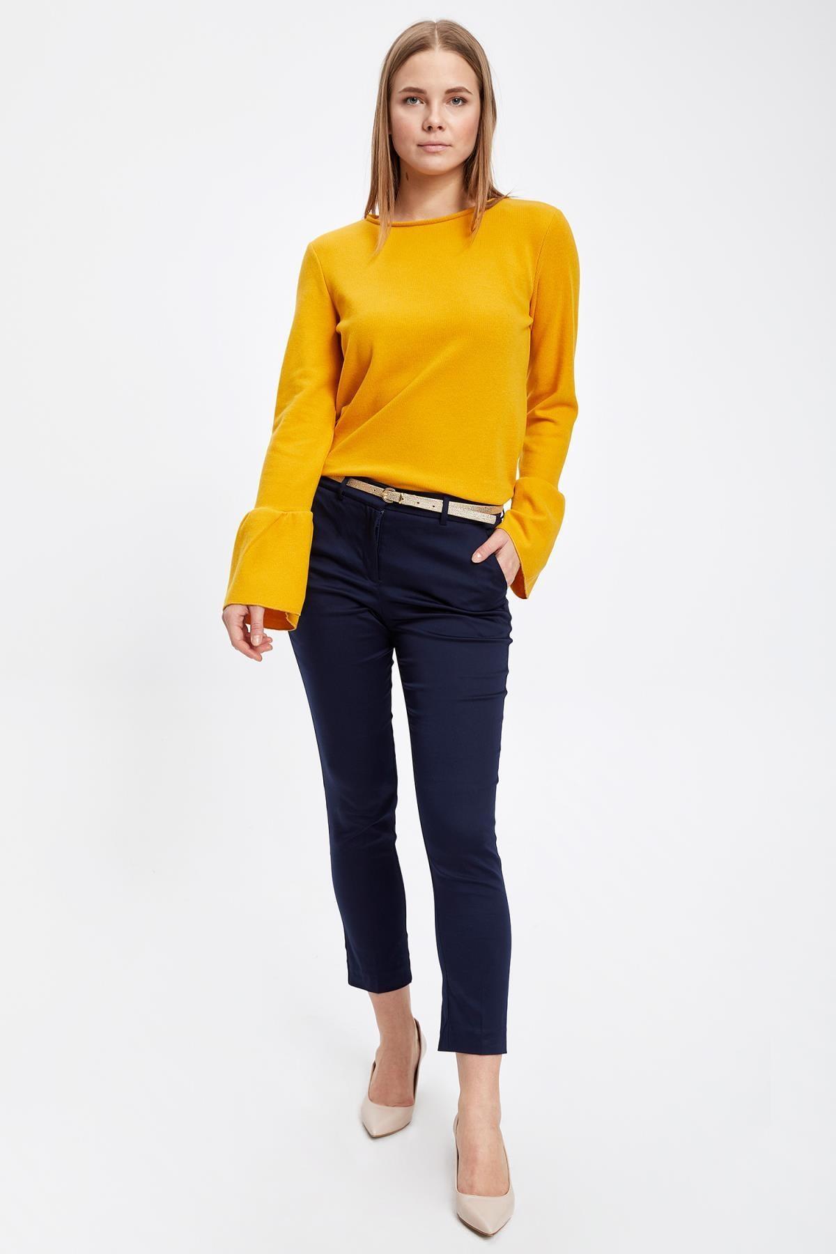 Defacto Kadın Sarı Uzun Kollu Kol Ucu Fırfırlı T-Shirt 1