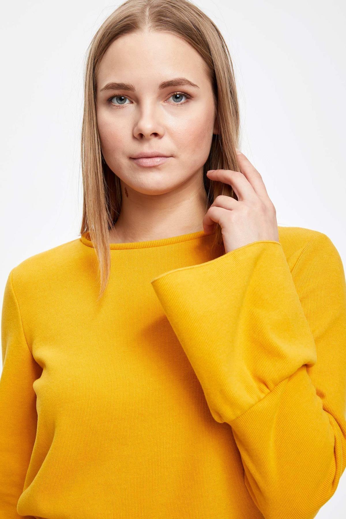 Defacto Kadın Sarı Uzun Kollu Kol Ucu Fırfırlı T-Shirt 2