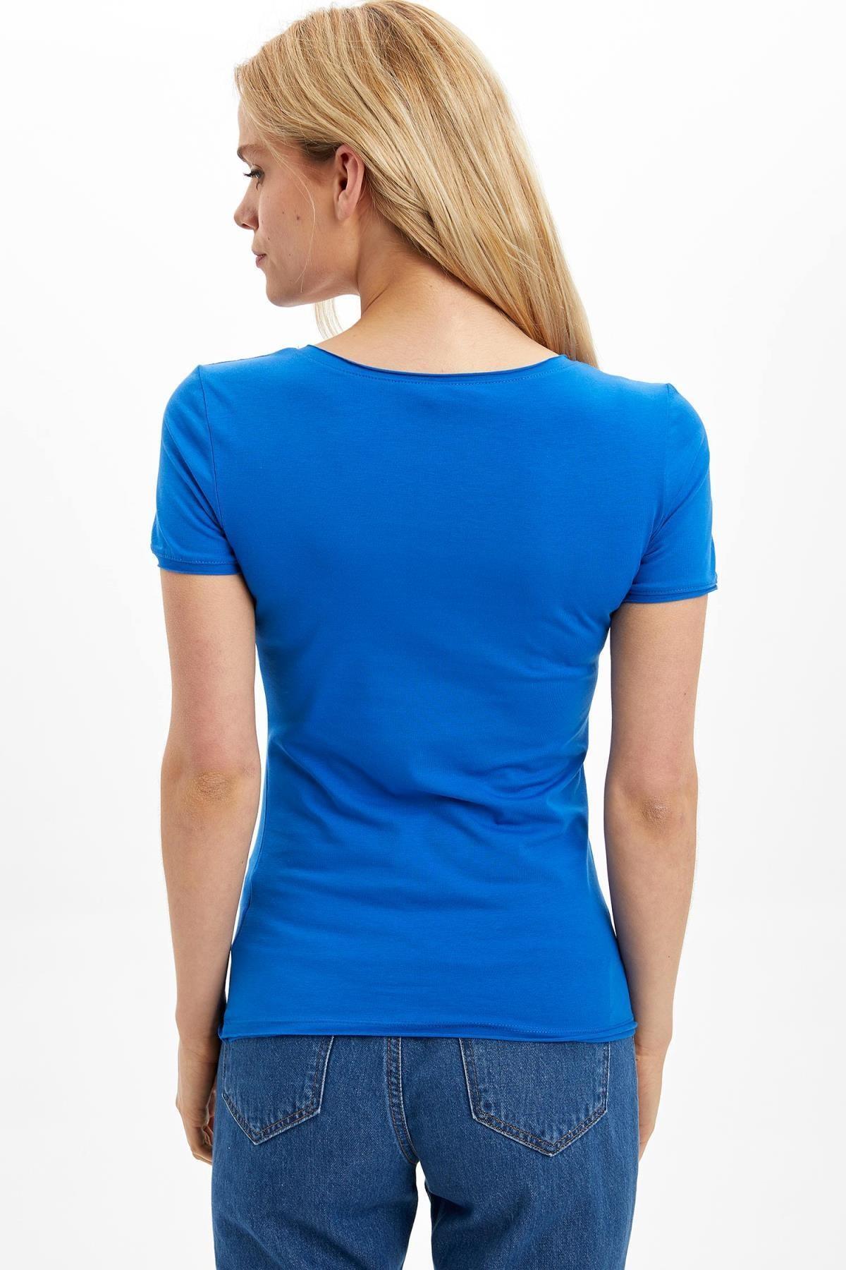 Defacto Kadın Mavi V Yaka Basic T-Shirt 3