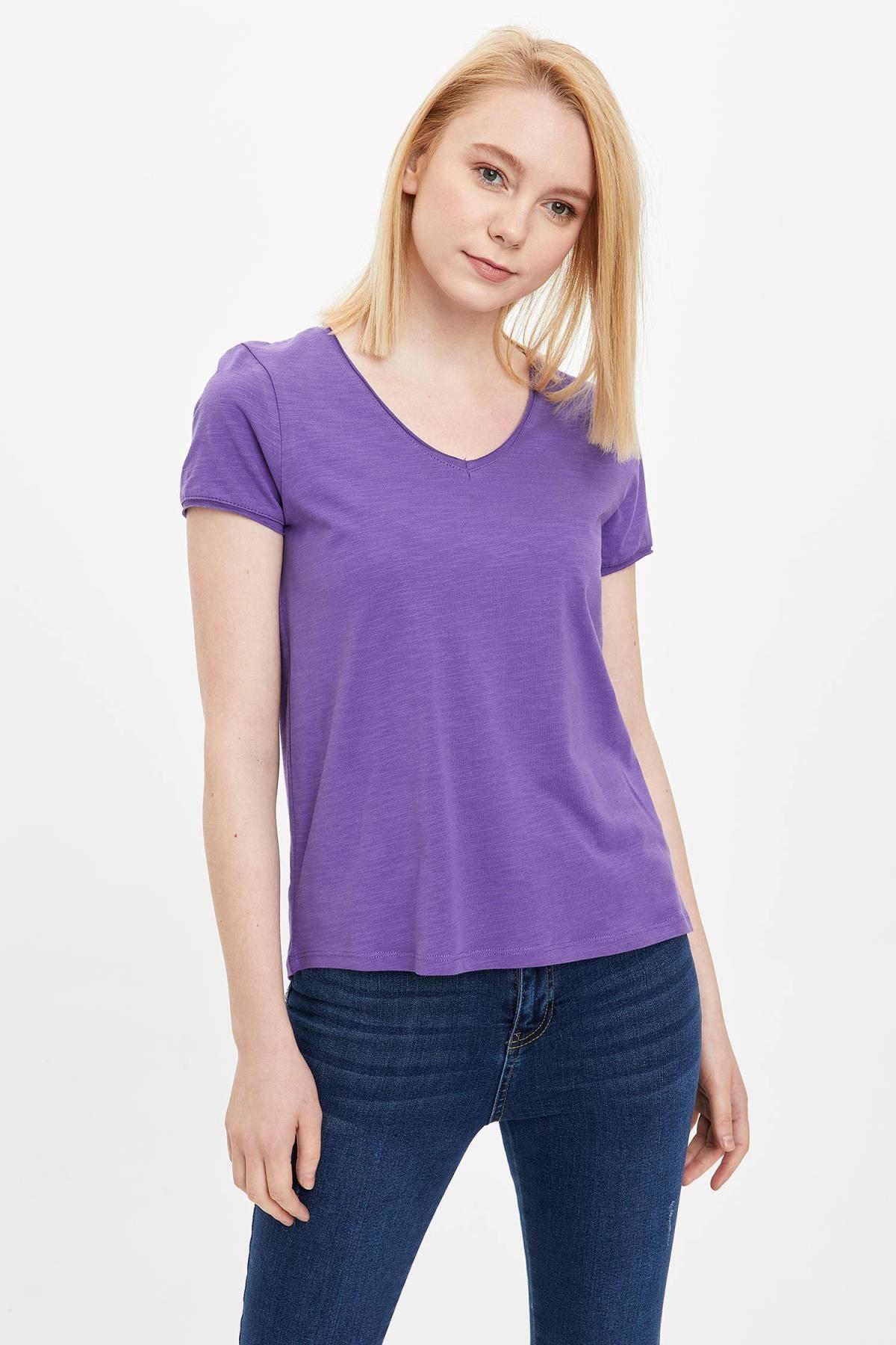 Defacto Kadın Mor V Yakalı Kısa Kollu T-Shirt K1507AZ.20SP.PR68 0