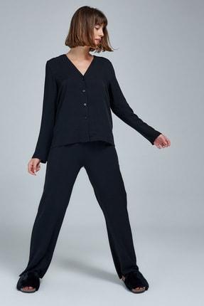 Appleline Kadın Siyah Düğmeli Pijama Takımı 1