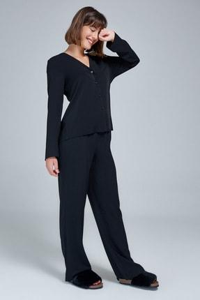 Appleline Kadın Siyah Düğmeli Pijama Takımı 3