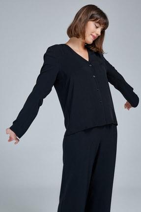 Appleline Kadın Siyah Düğmeli Pijama Takımı 4