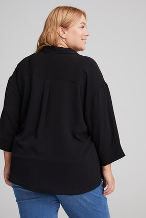 LC Waikiki Kadın Siyah Gömlek 0WDK71Z8 4