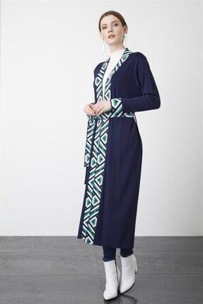 Tığ Triko Kadın Lacivert Bantlı Desenli Uzun Rayon Hırka 1