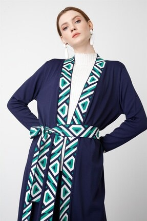 Tığ Triko Kadın Lacivert Bantlı Desenli Uzun Rayon Hırka 2