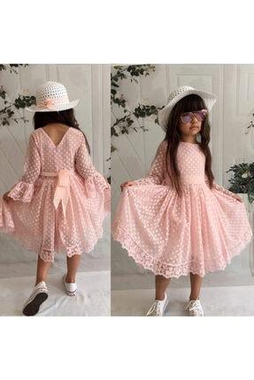 Mixie Kız Çoçuk Pembe Şapkalı Güpürlü Prenses Model Elbisesi 2