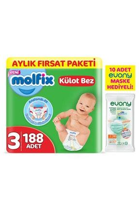 Molfix Külot Bez 3 Beden Midi Aylık Fırsat Paketi 188 Adet + Evony Maske 10 Lu 0