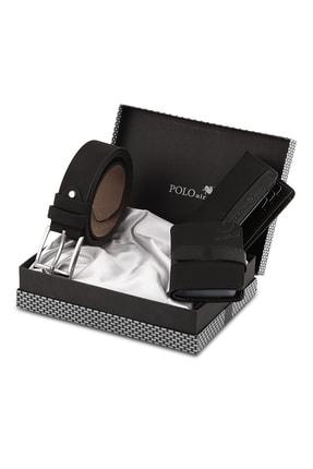 Polo Air Erkek Siyah Cüzdan Kemer Kartlık Seti 1