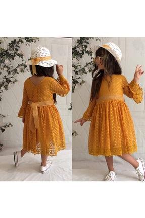 Mixie Kız Çocuk Hardal Güpürlü Şapkalı Elbise 1