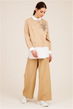 Ghisa Kadın Camel Önü Taşlı Tunik Pantolon Takımı 1