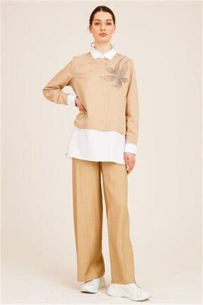 Ghisa Kadın Camel Önü Taşlı Tunik Pantolon Takımı 2