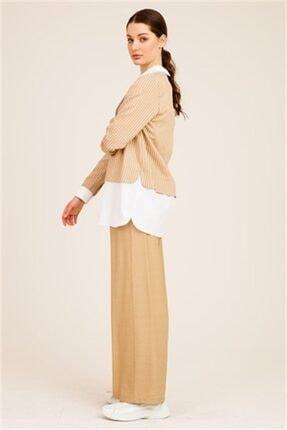 Ghisa Kadın Camel Önü Taşlı Tunik Pantolon Takımı 3