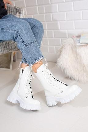 Moda Değirmeni Beyaz Kırışık Rugan Kadın Bot Md1001-116-0002 1