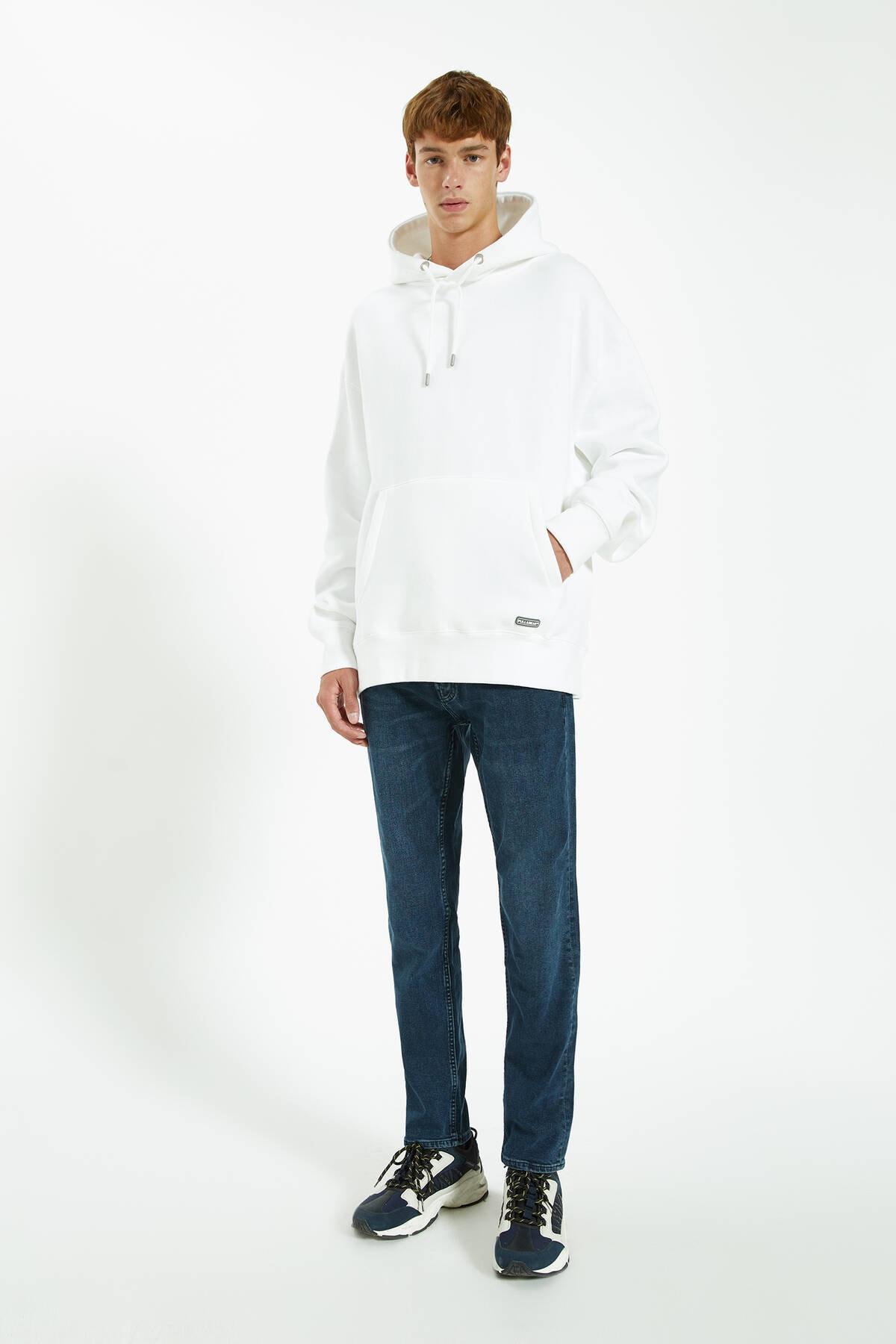 Pull & Bear Erkek Lavanta Rengi Distressed Detaylı Comfort Slim Fit Jean 09683533 0