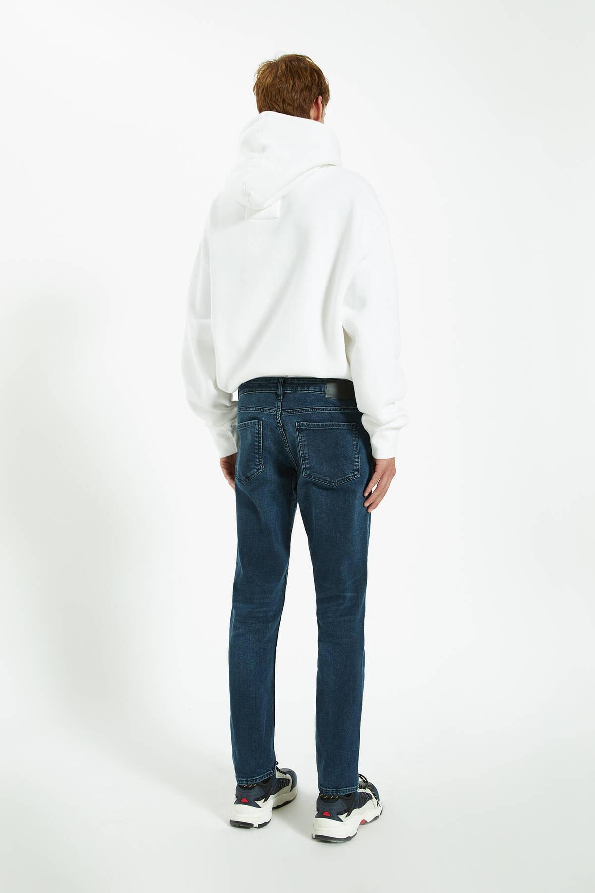 Pull & Bear Erkek Lavanta Rengi Distressed Detaylı Comfort Slim Fit Jean 09683533 3