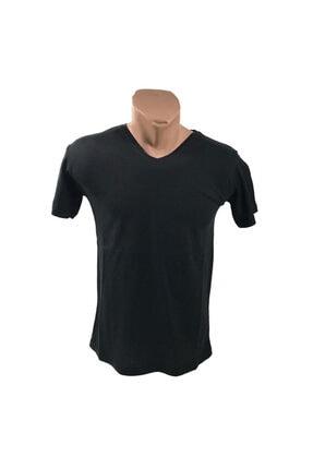 Pazarowic Erkek Siyah V Yaka Likralı Tshirt 0