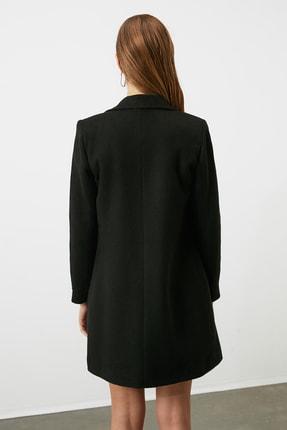TRENDYOLMİLLA Siyah Önden Düğmeli Yünlü Kaşe Kaban TWOAW20KB0035 4