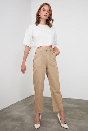 TRENDYOLMİLLA Camel Püskül Detaylı Yüksek Bel Straight Jeans TWOAW21JE0072 0