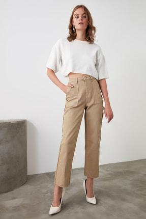 TRENDYOLMİLLA Camel Püskül Detaylı Yüksek Bel Straight Jeans TWOAW21JE0072 2
