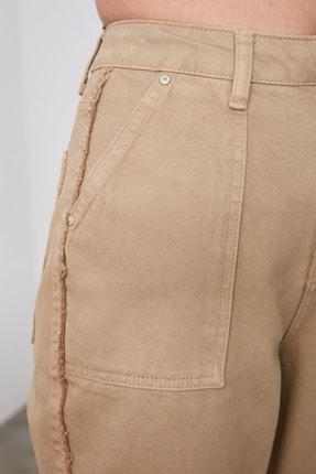 TRENDYOLMİLLA Camel Püskül Detaylı Yüksek Bel Straight Jeans TWOAW21JE0072 3