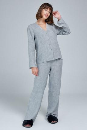 Appleline Kadın Gri Düğmeli Pijama Takımı 1