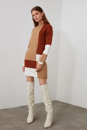 TRENDYOLMİLLA Kahverengi Colorblock Triko Kazak Elbise TWOAW20FV0063 2