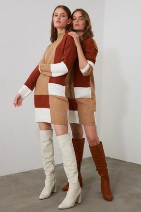 TRENDYOLMİLLA Kahverengi Colorblock Triko Kazak Elbise TWOAW20FV0063 0