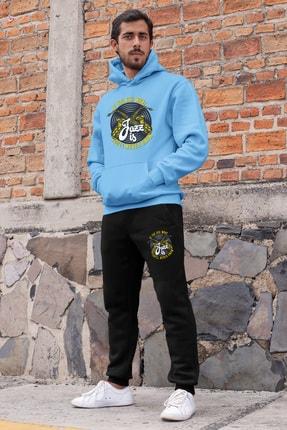 Angemiel Erkek Mavi Jazz ve Saksafon Kapşonlu Sweatshirt ve Siyah Eşofman Altı Takım 0