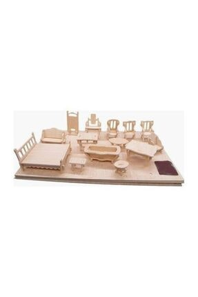 İstoc Trend Ahşap Minyatür Ev Eşyaları Eğitici Oyuncak 184 Parça 37 Mobilya 0