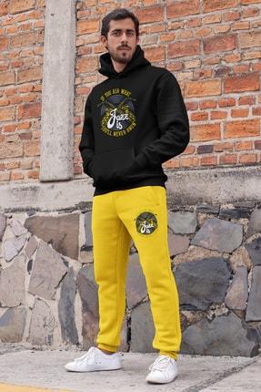 Angemiel Erkek Siyah Wear Jazz ve Saksafon Eşofman Takımı Kapüşonlu Sweatshirt Sarı Eşofman Altı 0