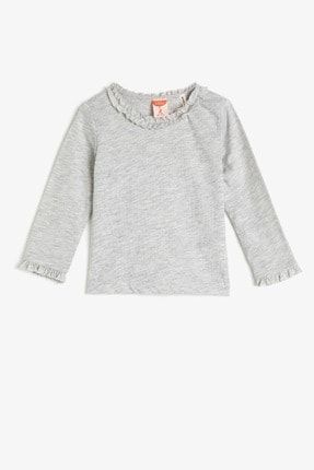 Koton Kar Melanj Kız Bebek T-Shirt 0