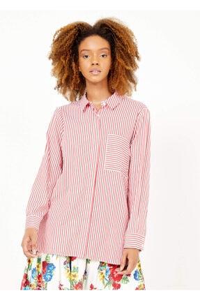 Adze Kadın Kırmızı Çizgili Cepli Gömlek 2