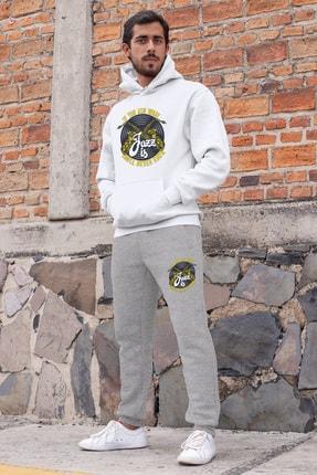 Angemiel Erkek Beyaz Kapüşonlu Sweatshirt Gri Eşofman Altı 0