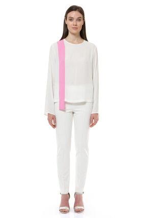 BİRELİN Kadın Ekru Asimetrik Şerit Detaylı Bluz 0