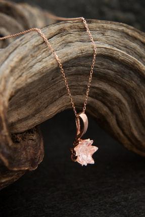 Elika Silver 14k Rose Altın Kaplama Beyaz Zirkon Taşlı Lotus Çiçeği Kadın Kolye 0