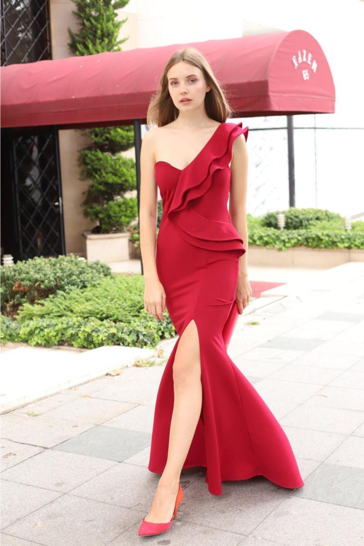 Esnek Krep Kumaş Tek Omuz Detaylı Bordo Uzun Abiye Elbise Maxi Prom Dress