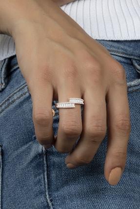 Else Silver Sıra Baget Taşlı Süzme Tasarım Gümüş Bayan Yüzüğü 0