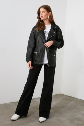 TRENDYOLMİLLA Siyah Yüksek Bel Wide Leg Jeans TWOAW21JE0099 1