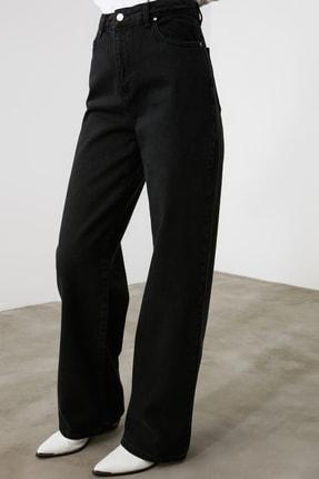 TRENDYOLMİLLA Siyah Yüksek Bel Wide Leg Jeans TWOAW21JE0099 4