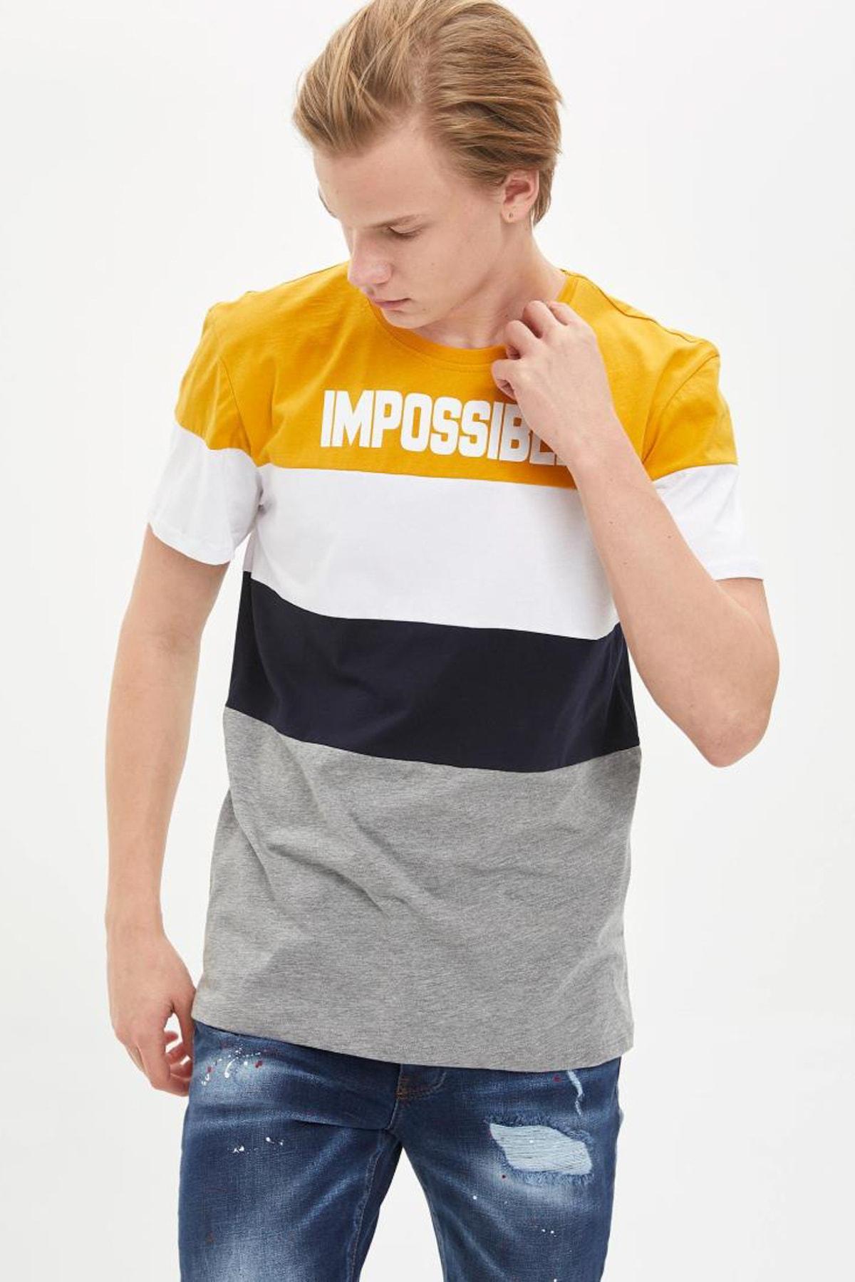 Defacto Erkek Gri Renk Bloklu T-Shirt